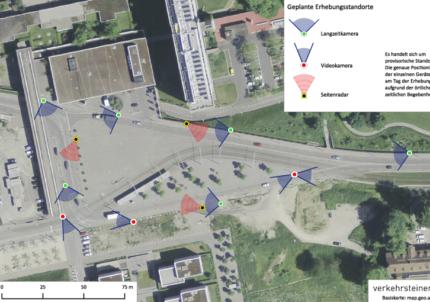 Kamera- und Radarstandorte rund um den Ansermetplatz