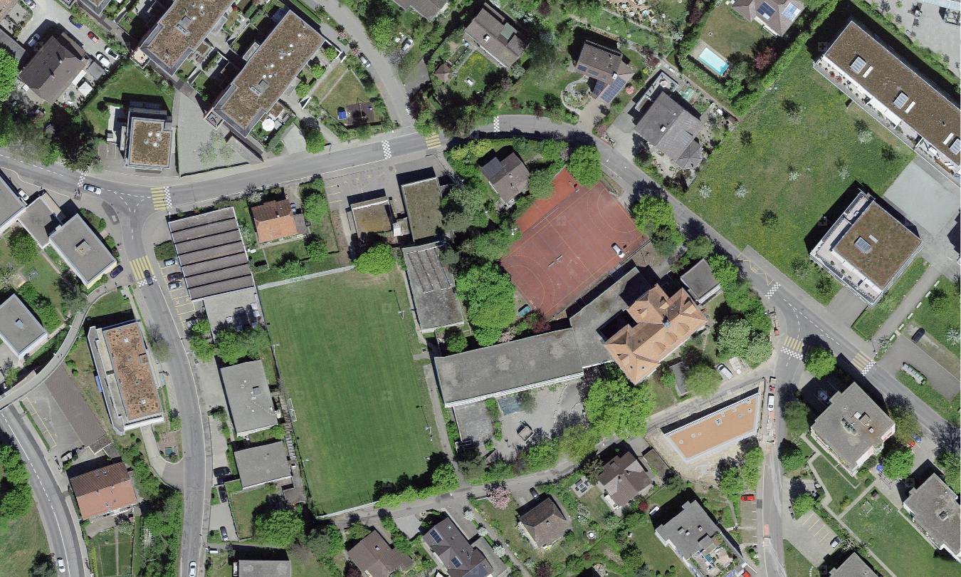 Luftbild des Flugbrunnenareals in Bolligen